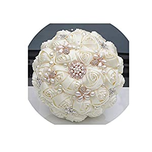 Gorgeous Crystal Ivory Wedding Bouquet Brooch Bowknot Wedding Decoration Artificial Flowers Bridal Bouquets Wedding 51