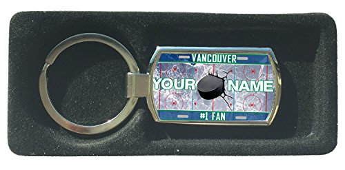 BleuReign(TM) Personalized Custom Name Hockey Team License Plate Vancouver Metal Keychain