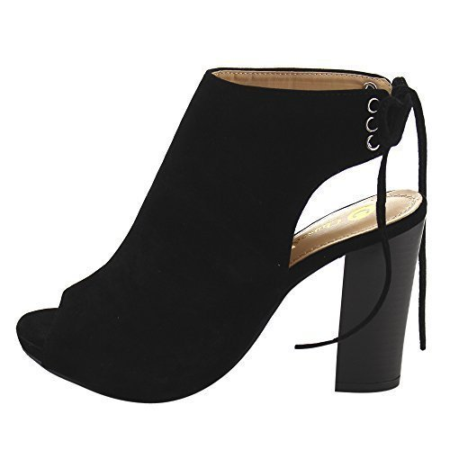Chase & Chloe EC79 Women's Lace up High Block Heel Ankle Booties (8.5 M US, Black)