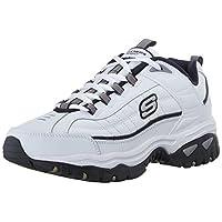 Zapatillas con cordones Skechers Energy Afterburn para hombres, blanco /azul marino, 10 M EE. UU.