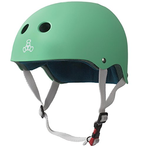 Triple 8 THE Certified Sweatsaver Helmet for Skateboarding, BMX, Roller Skating and Action Sports, Mint Rubber, L/XL