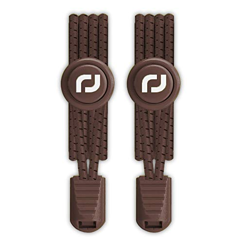 (No tie Elastic Lace System with lock - Easy to install in a range of colours. Perfect for runners, children, older generation & active lifestyles - 1 Pair (Brown))