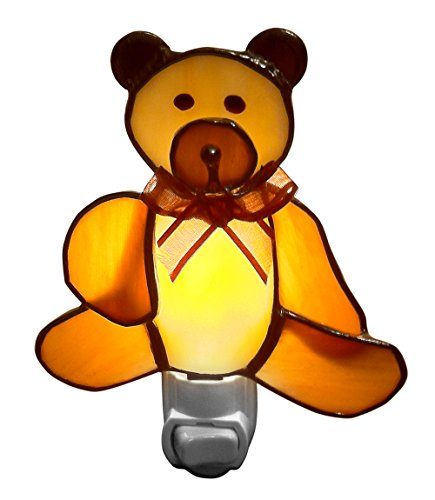 Cute Brown Bear Baby Night Lights - Stained Glass - Nightlights for kids, - Glass Bear Stained Teddy