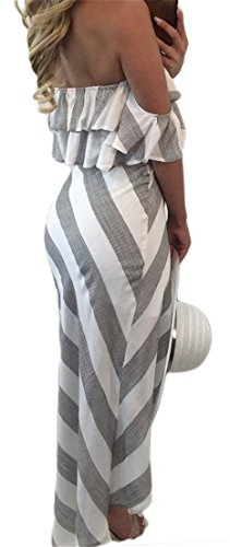 Partie Tie-noeud Bande Épaule Haute Croix Volant Bas Au Large Des Femmes Cromoncent Robe Blanche Gris