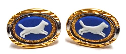 Wedgwood Authentic Gold & Silver Toned Jasperware Cufflinks Dog Running
