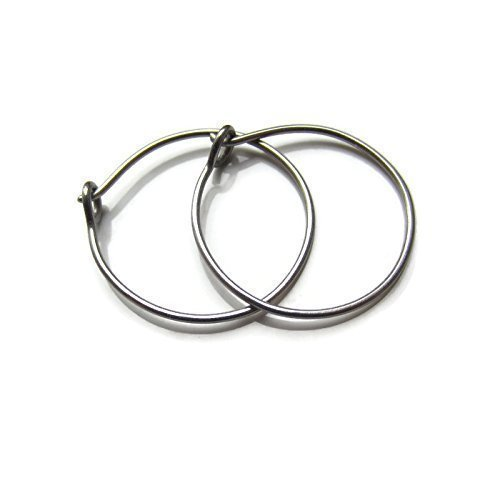 Handmade Titanium Hoop Earrings No Nickel Sensitive Ear Lobe Size 3/4 Inch Designed by ()