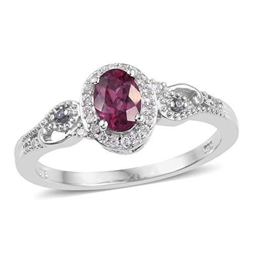 Halo Ring 925 Sterling Silver Platinum Plated Garnet Change Color Garnet Jewelry for Women Size 7 Ct 1 Color Change Garnet Ring