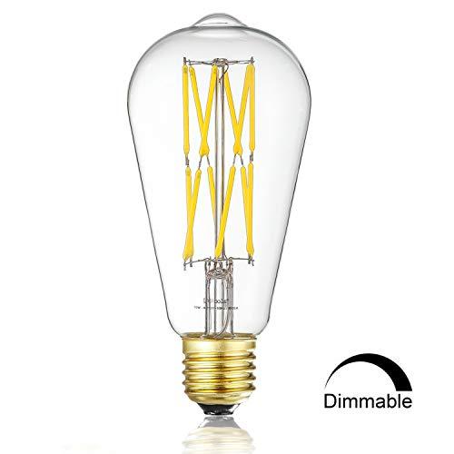 Leools LED Edison Bulb 10W Dimmable 4000K Neutral White 1000LM, 100W Equivalent E26 Medium Base, ST21(ST64) Vintage LED Filament Bulbs, 360 Degrees Beam Angle, Pack of 1 by Leools