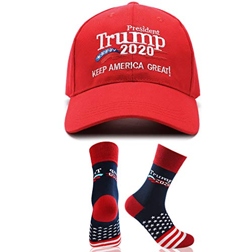 Make America Great Again Hat Donald Trump 2020 USA Cap with 2020 Trump MAGA Socks Red (Red Hat Socks)