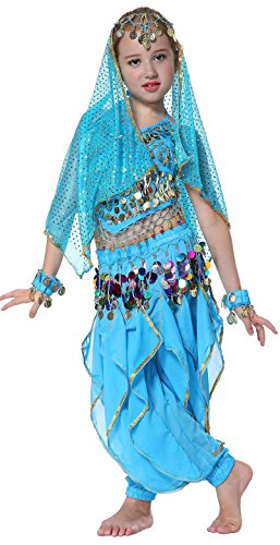 Seawhisper Belly Dress for Kids Dance Costume Girl Halloween Costumes Azure 5 6