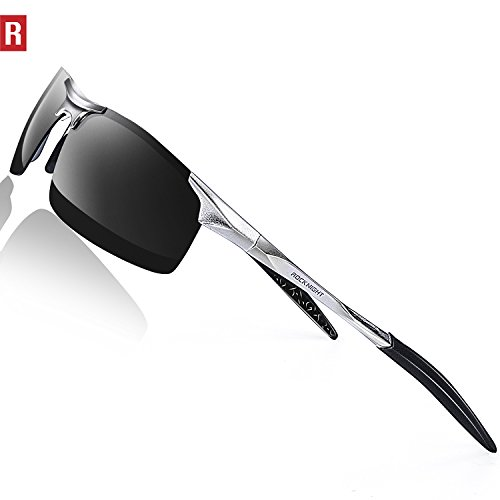 ROCKNIGHT Driving Polarized Sunglasses For Men UV Protection HD Glasses Ultra Lightweight Al-Mg Metal Outdoor Sports Boating Biking Sunglasses Rimless by ROCKNIGHT