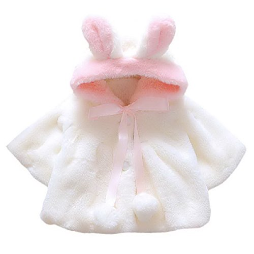 Baby Girl Kids Cute Hooded Coat Winter Soft Warm Outerwear Overcoat Garments for 1-2 Years Old White
