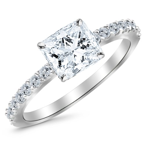 0.75 Carat 14K White Gold Classic Side Stone Pave Set Princess Cut Diamond Engagement Ring (H Color SI2 Clarity Center Stones) - Classic Diamond Engagement Rings
