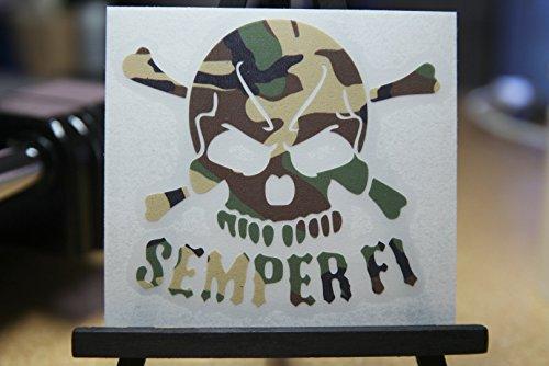 (USMC Semper Fi Skull Camo Decal Vinyl Sticker 4
