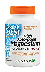 Doctor's Best High Absorption Magnesium Dietary Supplement, 200 mg per 2 tablets, 240 Tablets