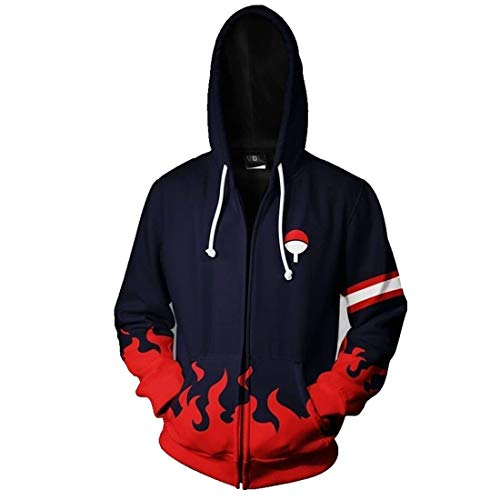 Family Zip Hoodie - CHENMA Men Naruto Kakashi Long Sleeve Full-Zip Bomber Jacket Hooded Varsity Jacket (L/US M, Uchiha Family)