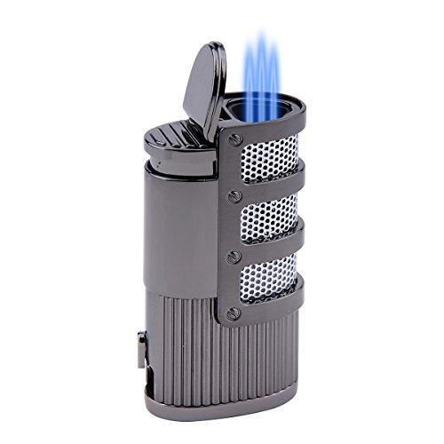 Jet Flame Torch Triple Butane Cigarette Gas Cigar Lighter With Gift Box (Black 2)
