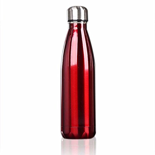 SuperStores 5 Colors Water Bottle Stainless Steel Bowling Shape Vacuum Insulated Water Bottle Outdoor Travel Home Use (red)