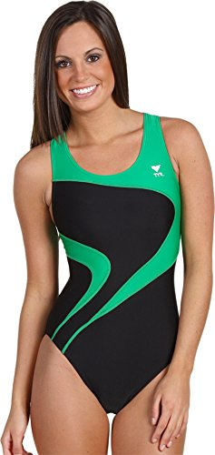 TYR Adult Alliance T-Splice Maxback Swimsuit, 40, Black/Green - Maxback Womens Swimsuit