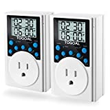 TOGOAL T319 Programmable Plug-in Light Timer for Electrical Outlet Indoor Digital Timer Switch with Countdown and Short Interval Cycle(15A/1800W),2 Pack
