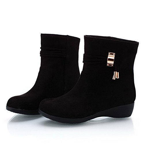 Imitated Boots B Solid Heels Suede Toe Wedge with AmoonyFashion PU M Black 5 6 Womens US Closed Frosted Low Round Ac8wPT