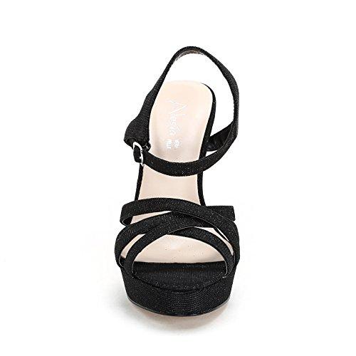 Hæl Svart 9 Stoff Sandaler Og Hælhøyde Snøring Alesya Høy Glitter Med Scarpe Scarpe Cm aRpttq