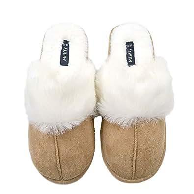 Millffy Nordic Style Faux Fur Trim Rabbit Hair Women's Suede Memory Foam Slippers Indoor eva Slipper Gold Size: 7-8
