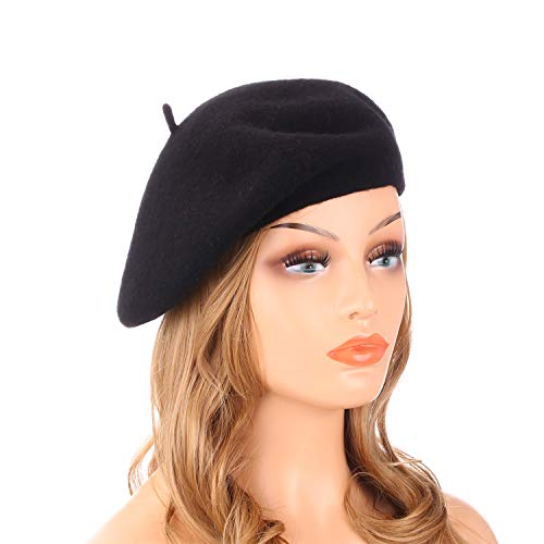 Wheebo Wool Beret Hat,Solid Color French Style Winter Warm Cap for Women Girls(Black)