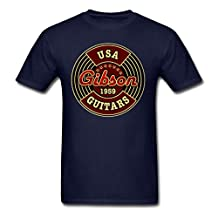 Men's Graphic 1959 USA Gibson Guitars DD.Cat T-Shirt Navy Large