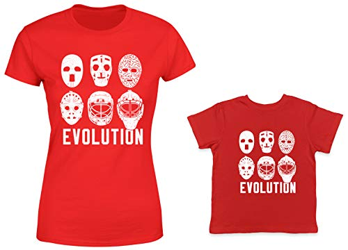 HAASE UNLIMITED Evolution of Goalie Mask 2-Pack Toddler & Ladies T-Shirt (Red/Red, X-Large/12 Months)