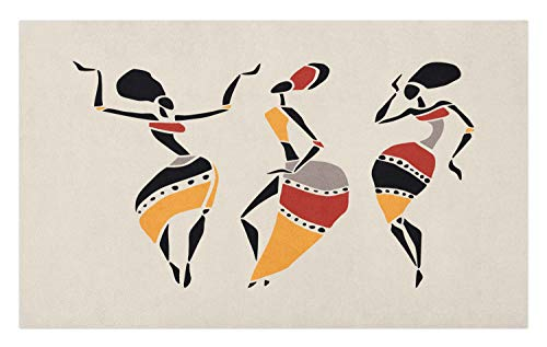 (Ambesonne African Woman Doormat, African Dancers Silhouette Set Ethnic Native Dresses Party Carnival Tradition, Decorative Polyester Floor Mat with Non-Skid Backing, 30 W X 18 L Inches,)