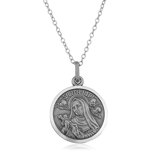 Oxidized Sterling Silver Round Saint Rita Medal Necklace (18mm, 18)