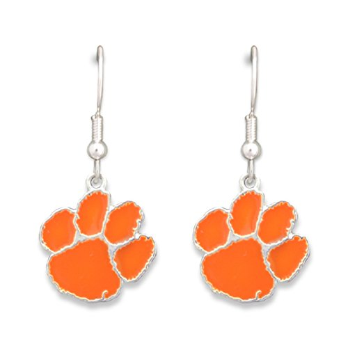 FTH Silver Tone Fishhook Earrings with a Clemson Tiger Paw Charm (University Clemson Earrings Paw)