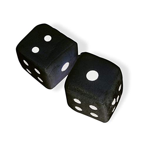 Vagway Fuzzy Dice Car Mirror- Pair of Black Hanging Dice- Plush Stylish Vintage Retro Accessory -