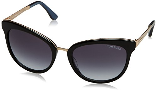 Tom Ford TF461 05W Black / Blue Emma Cats Eyes Sunglasses Lens Category 3 - Tom Ford Cat Eyes Sunglasses
