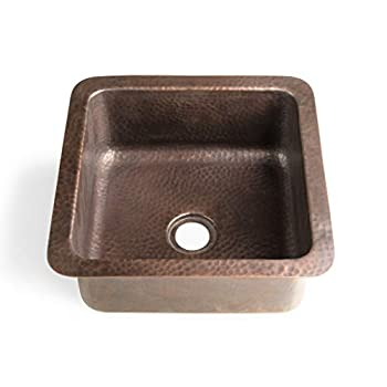 Image of Monarch Abode 17093 Pure Copper Hand Hammered Glasgow Dual Mount Sink (12 inches) Home Improvements