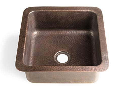 Monarch Abode 17093 Pure Copper Hand Hammered Glasgow Dual Mount Sink (12 inches) (Hammered Copper Sink)