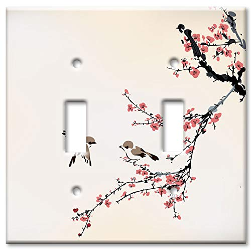 Art Plates 2-Gang Toggle OVERSIZE Switch Plate/OVER SIZE Wall Plate - Birds on a Cherry - Oversize Toggle Plate Wall