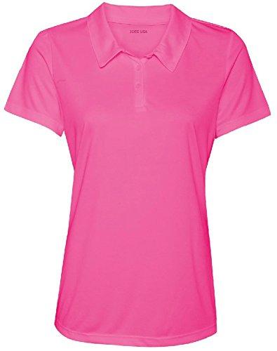 Women's Dri-Equip Golf Polo Shirts 3-Button Golf Polo-3XL-Charity Pink