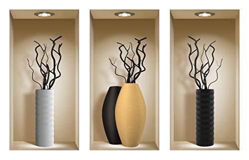 The Nisha Art Magic 3D Vinyl Removable Wall Sticker Decals DIY, Set of 3, Black Branches (Decal Black Set)