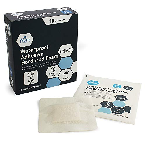 Dressing 4x4' Sterile - Medpride 4'' X 4'' Foam Wound Dressing (10-Count) Sterile, Waterproof Silicone Adhesive Border | Home or Emergency Healing Support | Partial or Shallow Drainage Coverage | Gentle