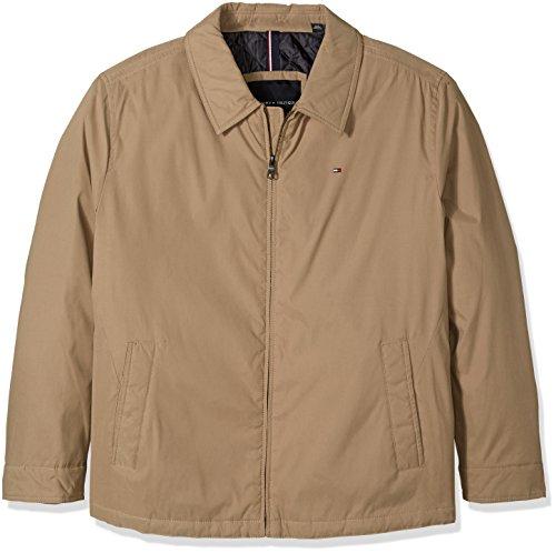- Tommy Hilfiger Men's Big Micro Twill Laydown Collar Golf Jacket, Khaki 3XLARGE