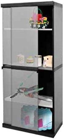 Ideapiu. Armarios para exteriores de PVC con puertas correderas y 3 estantes.: Amazon.es: Hogar