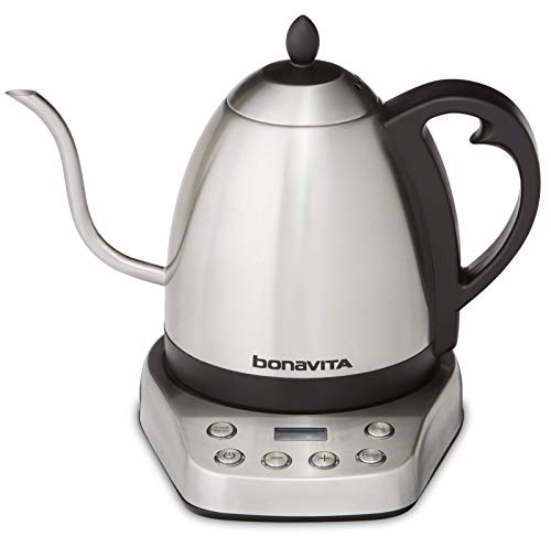 Bonavita BV07002US Interurban 1L Variable Temperature Brushed Stainless Steel Electric Kettle,