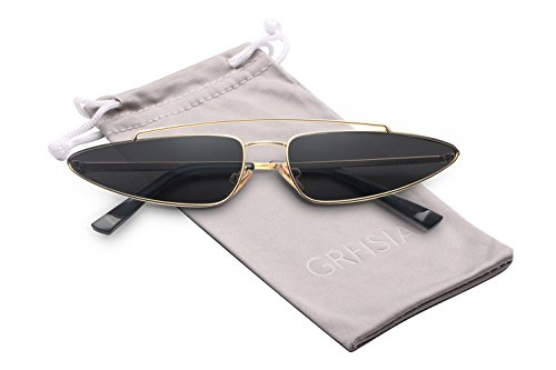 GRFISIA Cat Eye Sunglasses for Women Metal Small Frame Vintage Candy Color Style (black mirror gold frame)