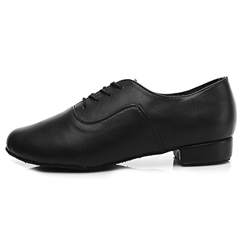 DKZSYIM Men's Black Leather Professional Latin Dance Shoes Ballroom Jazz Tango Waltz Performance Shoes,Style 704,9 B(M) US