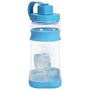 Rove 60 Ounce Cold Drink Hydration Bottle with Reusable Ice Cubes (Light Blue)