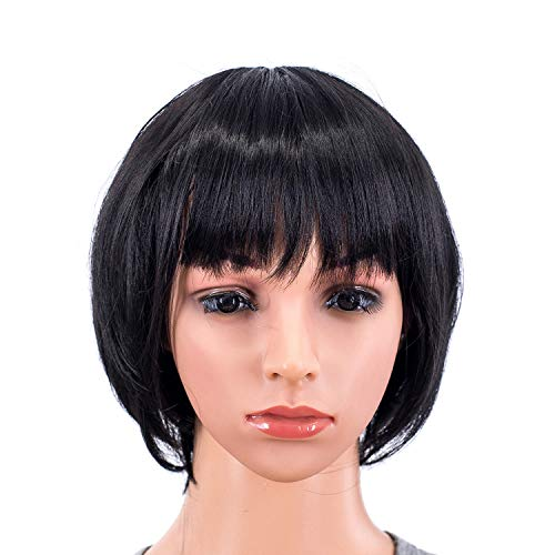 Straight Bob Wig with Bangs Synthetic Colorful Cosplay Daily Party Flapper Wig for Women and Kids with Wig Cap (1B#- Off Black) ()