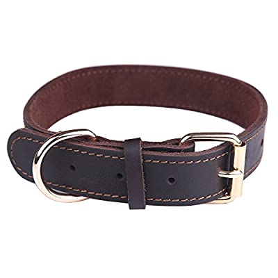 Taglory Genuine Leather Dog Collars/Military Grade Dog Training Collar for Small Medium Large Dogs/Soft and Durable Real Leather/Brown