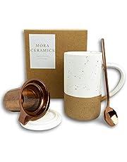 Mora Ceramics Tea Cup with Loose Leaf Infuser, Spoon and Lid, 12 oz, Microwave and Dishwasher Safe Coffee Mug - Rustic Matte Ceramic Glaze, Modern Herbal Tea Strainer - Great Gift for Women, Parent